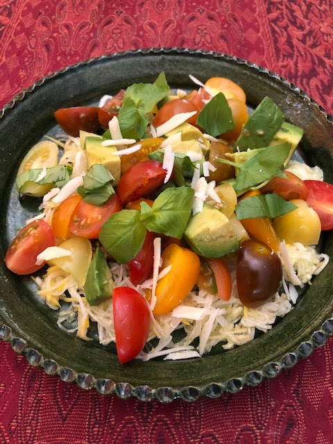 Tomato basil and avocado salad image