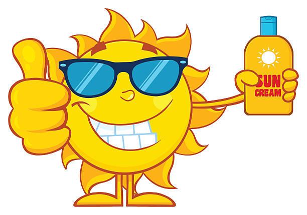 cartoon sun with sunglasses holding sunscreen